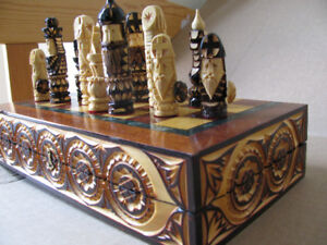 Hand-Carved Wooden Chess Set