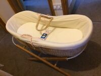 Moses basket with mattress and stand Price reduced