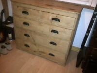 Antique Victorian old original vintage stripped pine dresser chest of drawers draws
