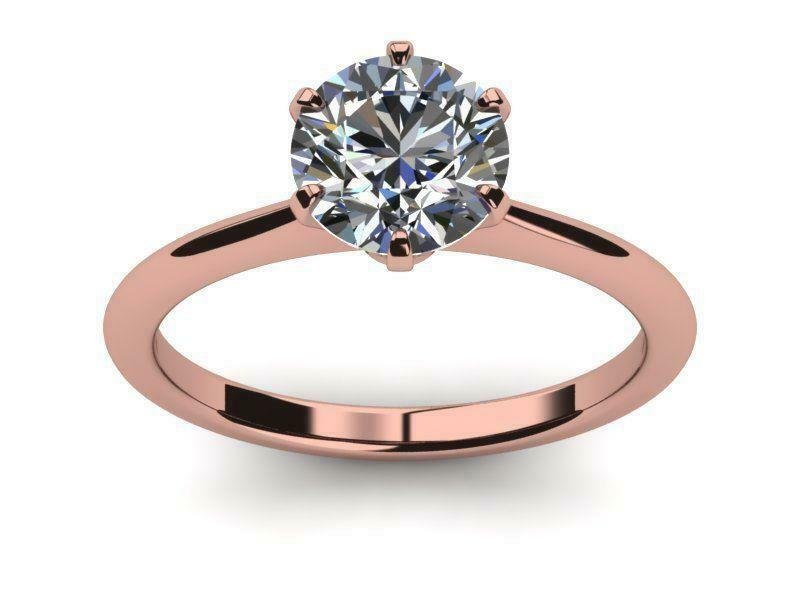 6 Prong Colorless Diamond Round Brilliant Ring Women 1 Carats 14k Rose Gold Red