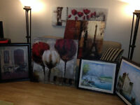 2 framed oil paintings and 4 large canvas prints