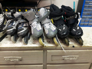 Various roller blades and pads