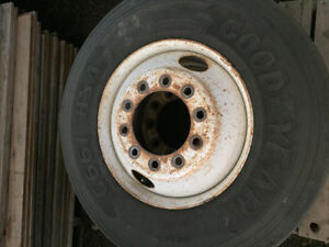 """Complete set of 22.5"""" truck rims and tires"""