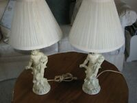 """2 alabaster cherube lamps with shades 21"""" high"""