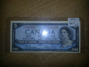 1954 5$ BILLS IN GREAT CONDITION FOR BIENG OVER 61 YEARS OLD!!! London Ontario image 5
