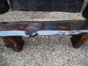 Live Edge Rustic Bench with Log Legs - $60