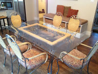 Unique wrought-iron, wicker, wood & glass table with 6 chairs