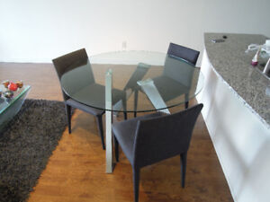 Mobilia Luxury Glass Top Dining Table with 3 Chairs - Like New