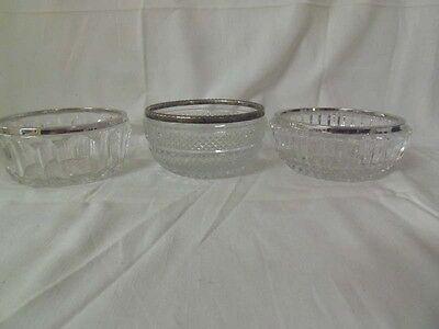 3 Kristallschalen Silberrand 800er, 835er und 925er Silber
