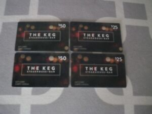 Keg gift cards $150.00 value for $120.00 firm//firm