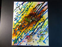 8 by 10 Canvas Original Painting Atomic Pour by Justin Moneey