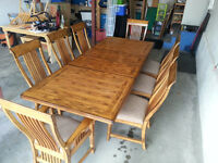 Large Dining Room Hardwood Table and 8 Solid & Spacious Chairs