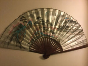 Silver Leaf wall Fan Hand Painted Art  cherry blossoms scene