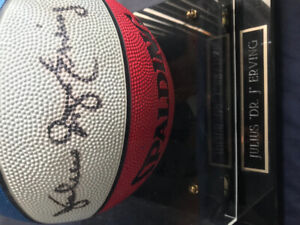 Authentic Julius Erving Autographed Basketball In Case