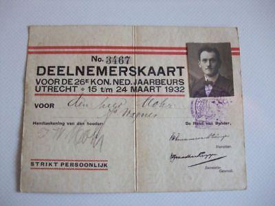 Messe Teilnehmerkarte Utrecht 24 März 1932, Deelnemerskaart Jaarbeurs Utrecht