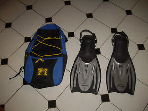 "1 SET OF SNORKELING FINS & CARRY ALL BRAND ""BODY GLOVE"""