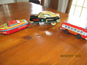 Antique Japanese Tin Toys - Boat, Bus and Police Car
