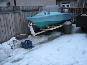 14' Runbout with 55 hp motor and trailer