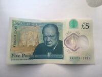 AK47 CODE NEW BANK OF ENGLAND £5 NOTE
