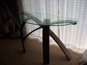 GLASS TOP WITH WOOD SOFA TABLE