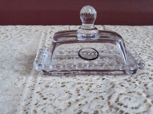 Miniature Glass Butter/Cheese Dish by Abbott--Beaded Edge Trim
