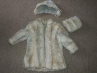 Antique Girls' White fur coat, size 2.