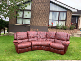 Corner group sofa in 2 toned oxblood leather Hyde throughout £199