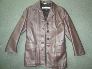 VINTAGE GENUINE LEATHER SINGLE-BREASTED WOMEN'S JACKET