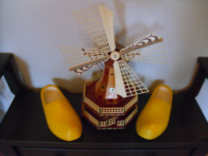 Wind Up Windmill & Size 9 Wooden Shoes