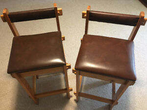 Solid Wood Bar Stools - Set of 2