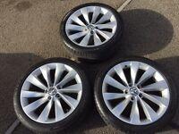 "3x Genuine VW Interlagos Turbine 18"" Alloys wheels & tyres"