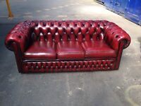 Stunning original antique vintage oxblood genuine leather chesterfield 3 seater sofa settee