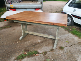20th Century Solid Oak Drop Leaf Extending Dining Table