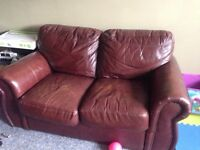 Real leather loveseat and sofa for sale