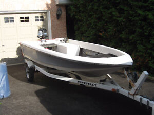"14"" fishing boat, trailer and 20HP Mercury outboard"
