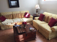 Set of couches & wooden Chest