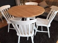 Gorgeous Round Pine Pedestal Table And 4 Lovely Farmhouse Chairs