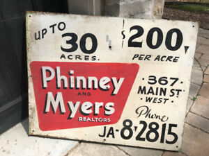 VINTAGE WOODEN HAND PAINTED SIGN - REAL ESTATE CALEDONIA