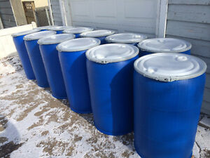 LOOK > 50 x Removable lid Plastic barrels, lever ring. $50 each.