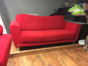 Bright Red Modern Style Sofa and Chair for Sale