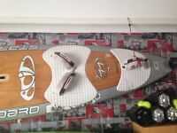 Windsurfing, board, fins, harness, mast extensions etc