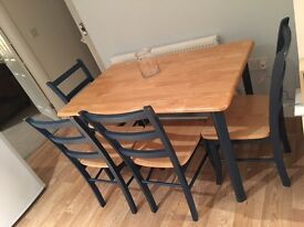 Lovely shabby chic pine/dark blue dining table and chairs