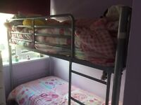 Short bunk bed with mattresses, aluminium frame