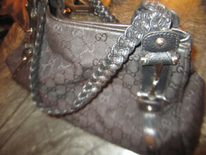 Gucci Pelham Hobo Handbag Braided Horsebit Black Canvas Leather