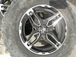 15 inch MSA wheels with BF Goodrich tires. Polaris bolt pattern