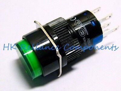 Button Push Switch Momentary Onoff Dc24v 1a Ac220v 3a Led 12v Green Vde