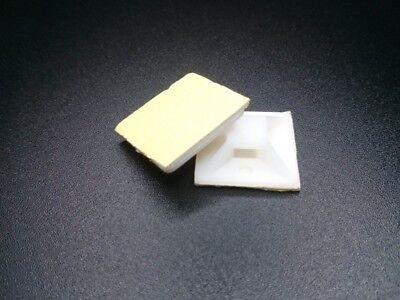 100x soporte base adhesiva BLANCA para bridas brida abrazadera Cable 19x19 mm