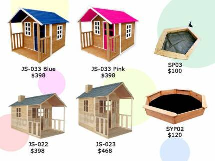 Cubby House Sandpit Kids Children Playhouse Outdoor Wooden Safety