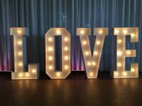 Winter OFFER £85 - hire Marquee Light Up LOVE Letters for Northamptonshire and beyond