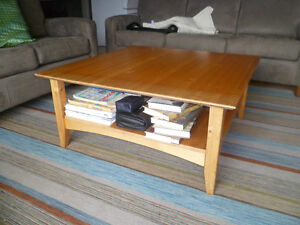 Two level square pine coffee table